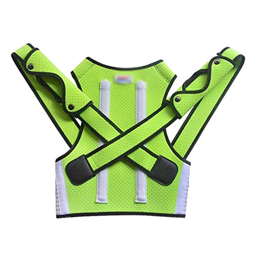 FENXIXI Niños Health Ajustable Postura Magnética Corrector Atrás Dolor Hombro Hombro Soporte Ortopédico Corsé Soporte Soporte para niños Correa de Apoyo (Color : Green, Size : Medium-M)
