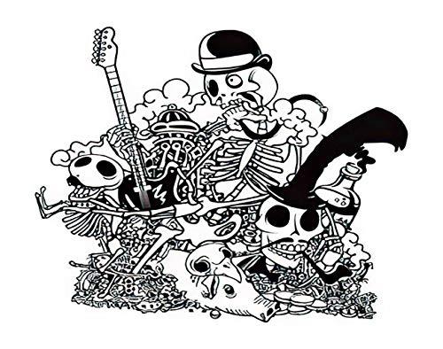 Y·JIANG Pintura por números Rock Skull Doodle Music Roll Monster Anatomy Bird Black DIY Lienzo acrílico pintura al óleo por números para adultos niños decoración de la pared del hogar, 40,6 x 50,8 cm
