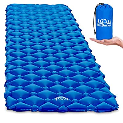 OutDecker Camping Sleeping Pad. Perfect Camping Air Mattress for Family Camping Trips, Backpacking or Sleepovers. Super Compact for Storage, Comfortable and Ultralight at 14oz. (Blue)