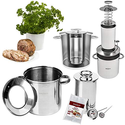 Browin, set completo di 1,5 kg di fornello per prosciutto, in acciaio inox, con rivestimento per acqua, con pentola e termometro.