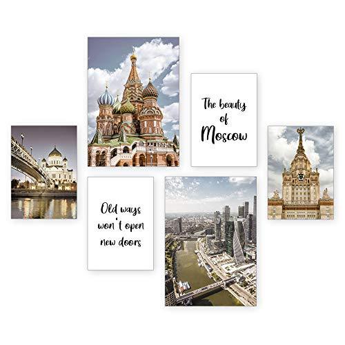 Juego de pósteres   Moscovia   6 imágenes decorativas para salón, dormitorio moderno para la pared – opcional con marco – 2 x DIN A3 & 4 x DIN A4 – aprox. 30 x 40 y 20 x 30 (negro)