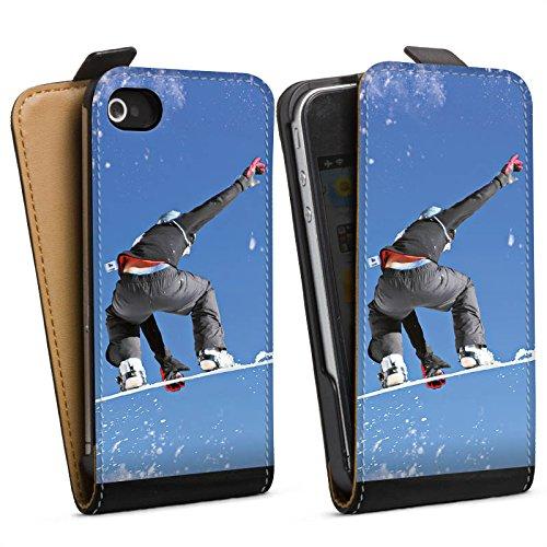 DeinDesign Tasche kompatibel mit Apple iPhone 4 Flip Case Hülle Snowboard Sprung Wintersport