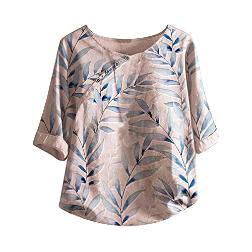 BUKINIE Womens Short Sleeve T Shirts Fashion Leaves Printed Roll Up Sleeve Cotton Linen Blouse Plus Size Loose Casual Summer Tunic Tops