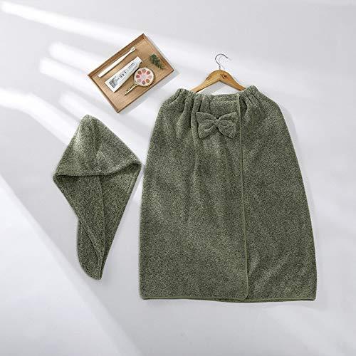 Heliansheng Toalla de baño de Microfibra para Mujer con Cinta para el Cabello Albornoces Textiles para el hogar Baño -B Green-G73