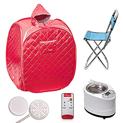 MSRUIOO Portable Sauna Kit,Use for Lose Weight and Detoxify at Home.Foldable Sauna Tent with Remote Control,Foldable Chair,Fumigation Machine and Storage Bag