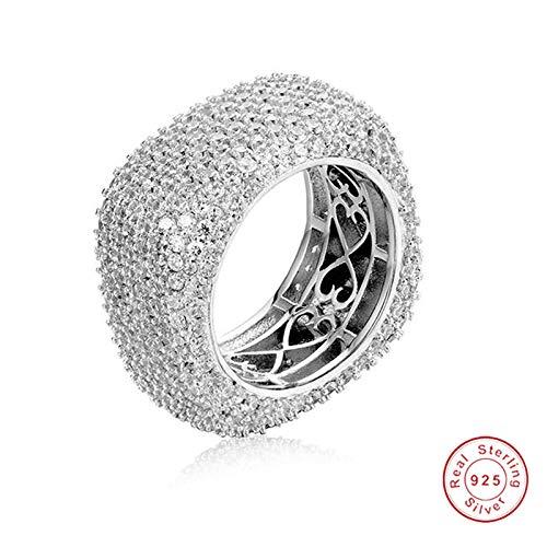 MYLDML Rings Platz 925 Sterling Silber Ringe Für Frauen Hochzeit Schmuck Für Frauen Pflastern Einstellung Volle 420 STÜCKE Simuliert Diamant Platin, weiß, 9