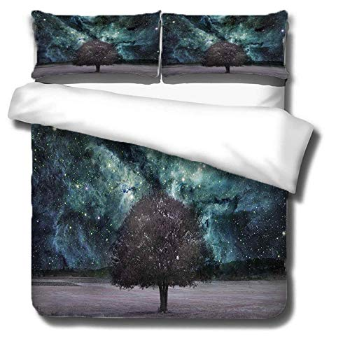 Duvet Cover Set 3 Piece,3D printing Duvet Set Bedding Set for 135 * 200cm Single Bed with 2 Pillowcases.Adult and child's style: Dark starry sky