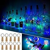 Ariceleo 20 LED 10 Packs Wine Bottle Lights Copper Wire Fairy String Light Multi Color Bottle Stopper Atmosphere Lamp for Christmas Xmas Holiday Festival DIY Home Party Decoration Present Gift