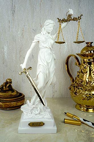 Kremers Schatzkiste Alabaster Justitia Göttin Figur Skulptur Themis BGB Recht Gerechtigkeit 32 cm weiß
