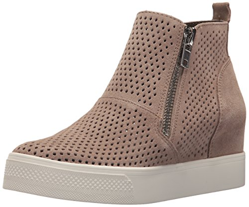 Steve Madden Women's Wedgie-P Sneaker, Taupe Suede, 6 M US