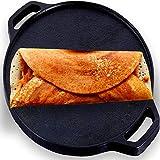 Roston Cast Iron Dosa Tawa | Cookware Vessel Pre Seasoned with Skillset Flat Dosaa Pan | Ideal for Cooking Dose Chapati Pizza Roti Thava( Tava Kallu Kitchen Accessories) (DOSA TAWA 12 INCH)