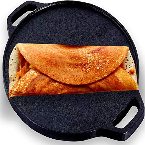 Roston Pre-Seasoned Flat Dosa Cast Iron Tawa / Pan for Kitchen Cookware Vessel (12 Inch Dosa Tawa)