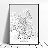 lubenwei Huelva A Coruna Valladolid Alicante Badajoz Mostoles Spain Map Poster 50x70cm Sin Marco AQ-845
