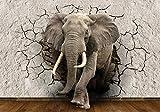 wandmotiv24 Fototapete Elefant 3D Wanddurchbruch XL 350 x 245 cm - 7 Teile Fototapeten, Wandbild,...