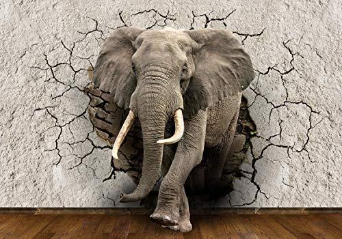 wandmotiv24 Fototapete Elefant 3D Wanddurchbruch, M 250 x 175 cm - 5 Teile, Fototapeten, Wandbild, Motivtapeten, Vlies-Tapeten, Tier, Mauer, Bruch M1238