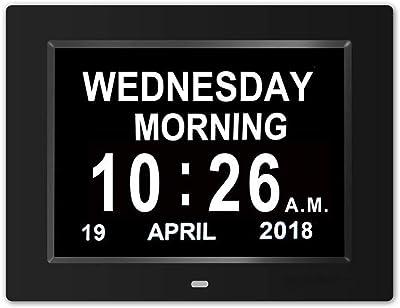 V.JUST Alarmas Reloj Día del día, 12 Opciones Pantalla Regulable automática - Reloj