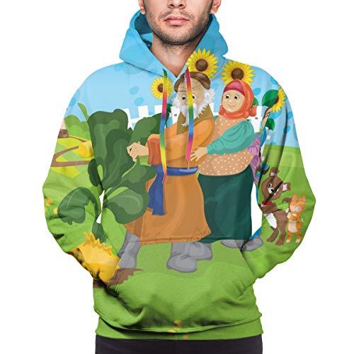 Moshow Herren Hoodie Russian Folk Fairy Tale Über Rübe Sweatshirt 3XL