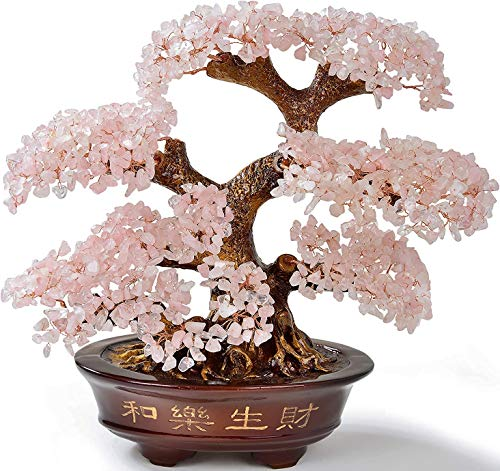 Kalifano Rose Quartz Tree of Life Centerpiece, Gemstones to Promote Love and Happiness, Feng Shui Bonsai with Positive Energy Crystals, 1,251 Gemstones, 14 Inches x 7 Inches x 14 Inches