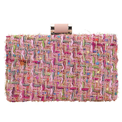 Bonjanvye Weave Fabric Clutch Bags for Women Evening Bags and Clutches Designer Pink