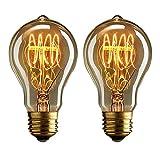 Dosbombillas vintage Edison de 40 vatios de Buyee, de luz blanca y cálida y con filamentos de...