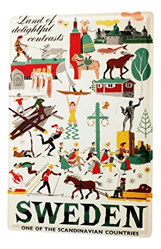 LEotiE SINCE 2004 Blechschild Dekoschild Küche Garage Welt Reise Wintersport Schweden Wand Deko Schild 20X30 cm