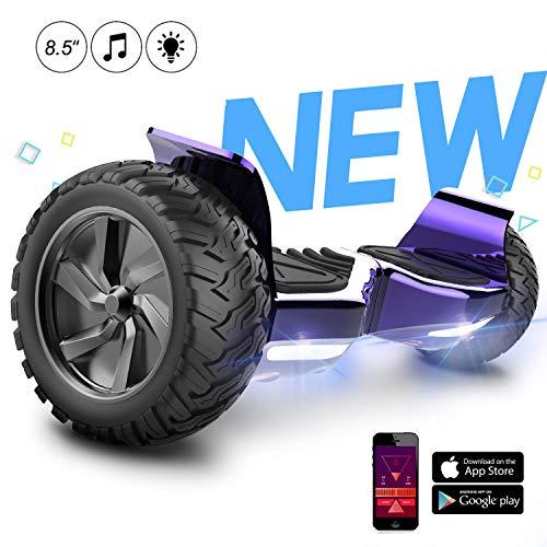 GeekMe Patinete Eléctrico Todo Terreno E-Scooter de Equilibrio Automático de 8,5 Pulgadas con App Bluetooth Iluminación de Motor LED para Adultos y Niños