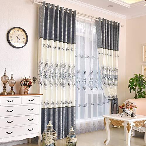 XPY-Curtain Gardine Vorhänge Gardinen Wohnzimmer Stoff weiß Bestickt Pfingstrose Baumwolle und Leinen fertig Boden bis zur Decke Fenster, 250, A