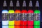 Bloodline Tattoo Ink Blacklight UV 6 Color Set - 1/2 oz...
