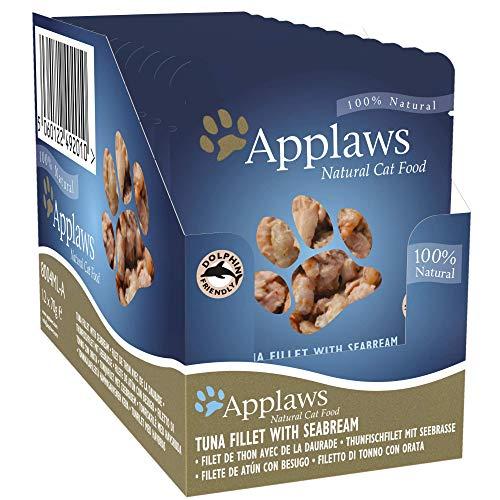 Applaws Bolsa de comida para gatos 70 g de atún con dorada paquete de 12