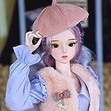 1/3 BJD SD Doll Full Set 24.4'62cm 26 Ball Jointed SD Doll Custom DIY Toy con Toda la Ropa Zapatos Peluca Maquillaje 100% Hecho a Mano para niña Regalo de cumpleaños