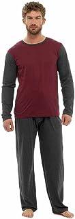 Men's Jersey Long Sleeved Lounge Set Pyjama Set (Medium, Red & Grey)