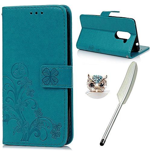 YOKIRIN Huawei Honor 6X Flip Hülle Huawei Honor 6X Wallet Hülle Bookstyle Flipcase Lederholster Schutzhülle PU Leder Handytasche Brieftasche Geldbörse Klapptasche Ständer Tasche Glücksklee Blau