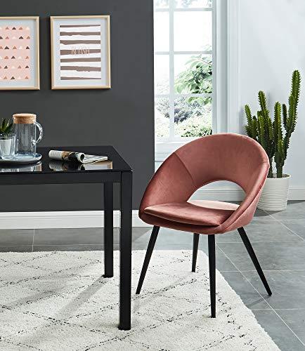 BAITA Leonie stoel, fluweel, roze, terracotta, hoogte 83 cm