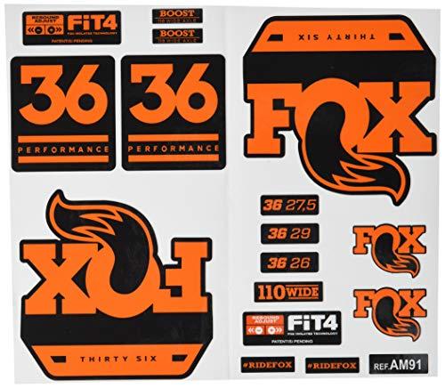 Ecoshirt RI-RBNK-J8XN Stickers Fork Fox 36 Performance Elite 2017 Am91 Autocollants Stickers Fourche Gabel Fourche Orange