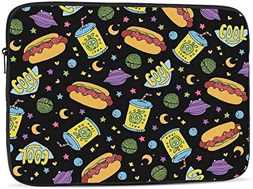 Funda para ordenador portátil Kawaii Donuts de Halloween compatible con 10 – 17 pulgadas lindo bolsa de ordenador portátil Case-Hot Dogs, latas de refrescos y Ufo en el espacio, 10 pulgadas