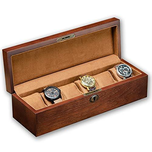 Cajas De Reloj Estuche De Almacenamiento De Relojes De Madera Maciza Soporte Organizador De Madera para Hombres para Regalos A La Familia, 35.5 × 10.8 × 10 cm