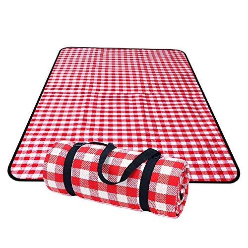 Faltbare Picknickmatte mit Henkeltasche, wasserdicht, sandfrei, Stranddecke, waschbar, rot und weiß, kariert, 200 x 200 cm, für Camping und Reisen