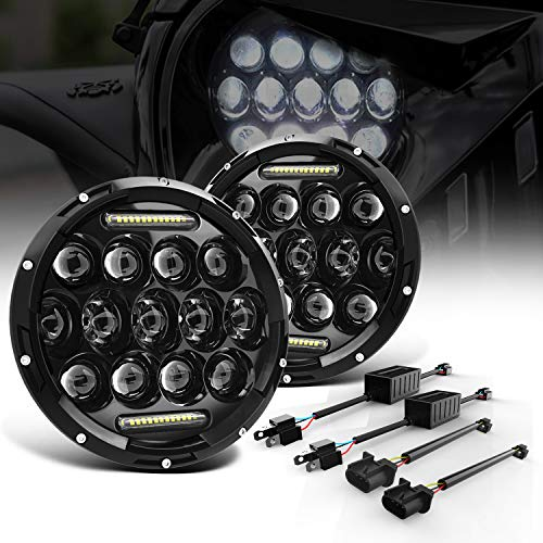 """LED Headlight for Jeep Wrangler KEENAXIS 7"""" 75W Round LED Headlamp with Daytime Running Light DRL High Low Beam for Jeep Wrangler JK TJ LJ Motorcycle with H4 H13 Adapter,2PCS"""