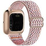 Fengyiyuda Elástico Nylon Correa de Reloj Compatible con Fitbit Versa 2/Versa/Versa Lite/Versa SE,Bandas Suaves para Relojes Inteligentes, Seporte Hebillas Ajustables,correas de repuesto,Pink Sand