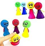 JZK 8pcs Emoji créatif Mignon poupées rebondissantes, faveurs de fête d'anniversaire d'enfants, remplisseurs de Sac de Partie, Fournitures de fête décorations