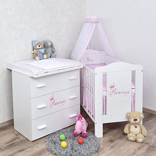 Baby Delux Babyzimmer Komplettzimmer Set Babybett Kommode weiß Bettset Princess