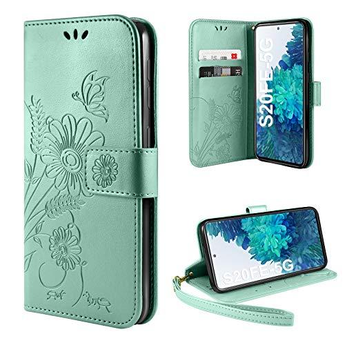ivencase Handyhülle Kompatibel mit Samsung Galaxy S20 FE 5G Hülle Flip Lederhülle, Handyhülle Book Hülle PU Leder Tasche Hülle & Magnet Kartenfach Schutzhülle (Grün)