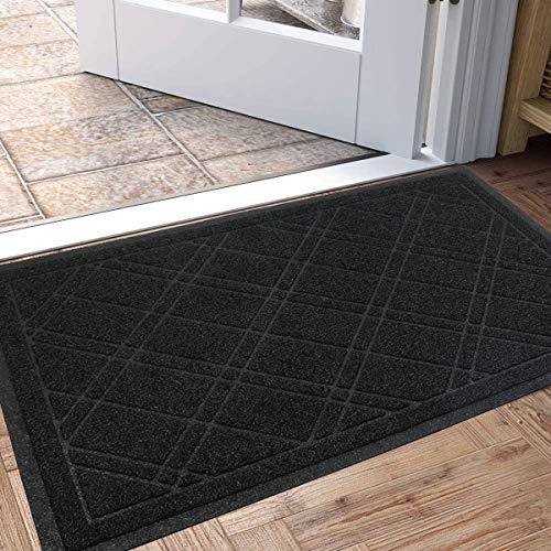 Pauwer - Felpudo para puerta de entrada, impermeable, lavable, antideslizante, para interiores y exteriores, color negro, 60 x 90 cm