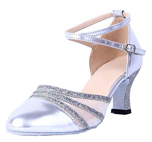 Honeystore Damen's Knöchelriemen Schnalle Lackleder Tanzschuhe Silber 6 UK