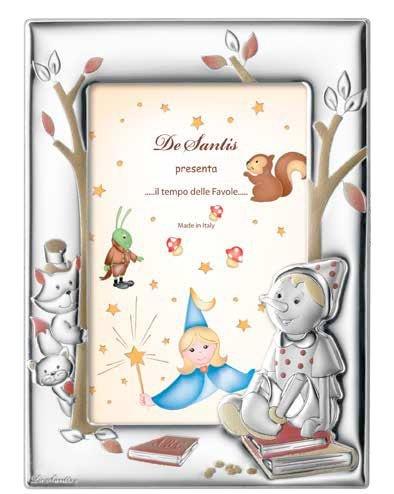 Cadre photo – Baby Collection – Ligne contes – Celeste – Photos cm 10 x 15 Retro bois Bi laminé argent Made in Italy