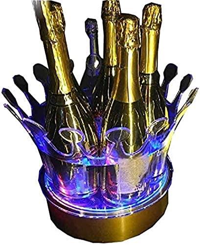 NANA SUN Benna di Ghiaccio a LED, Changeable Color Change Wine Bottle Refrigeratori Champagne Vino Vino Barretta Ice Cubetto Contenitore Facile da Curare 9.19 (Colore: Blu, Dimensioni: 26.5x27 cm)