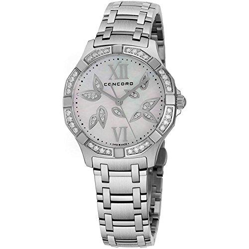 Concord Saratoga - Reloj de pulsera para mujer de acero inoxidable con diamantes de imitación de 31 mm con esfera de flores de diamante y cristal de zafiro, hecho en Suiza, analógico, reloj de cuarzo, correa de metal, reloj de lujo para mujer 0320305