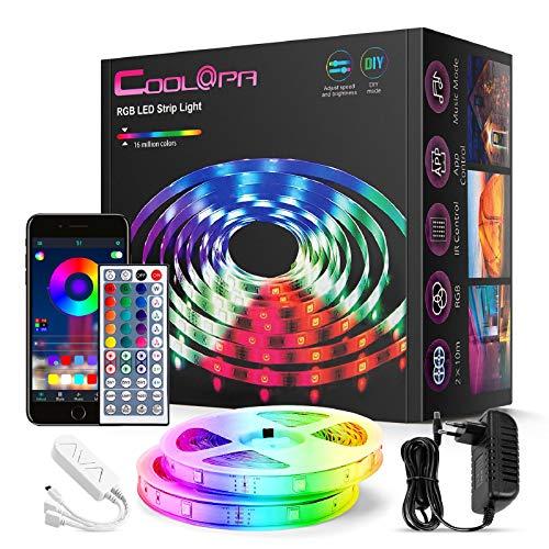 20M LED Strip, COOLAPA LED Streifen RGB 5050, LED Stripes mit 44 Tasten IR-Fernbedienung APP Steuerbar Musikmodus, 12V 360 LEDs, Sync mit Musik, Beleuchtung von Haus, Party, Küche, 2 Rollen von 10m