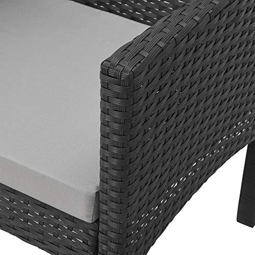 SVITA Brooklyn XL Rattan Garten Möbel Set Essgruppe mit Tisch, 2X Sessel, 2er Sofa Polyrattan Schwarz - 2