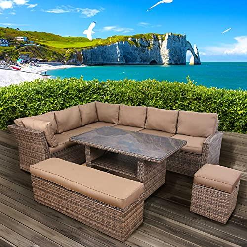 BRAST Poly-Rattan Gartenmöbel Essgruppe Lounge Set Sitzgruppe Outdoor Möbel Garten Garnitur Sofa Holidays Braun/Cappuccino